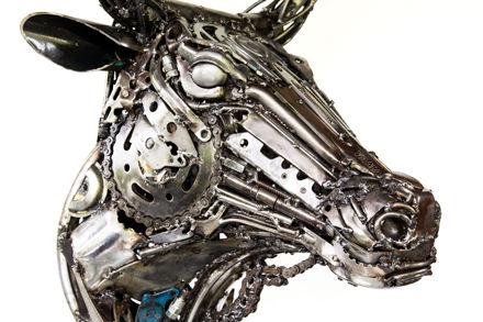 cow metal sculpture