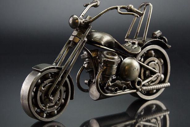 Chumps chopper bike model scrap sculpture made from scrap steel 4