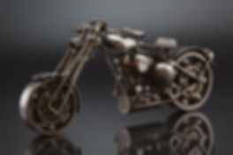 Motorcycle scrap metal scupture small scale