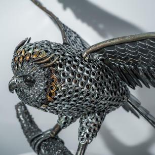 Flying owl metal art sculpture mari9art