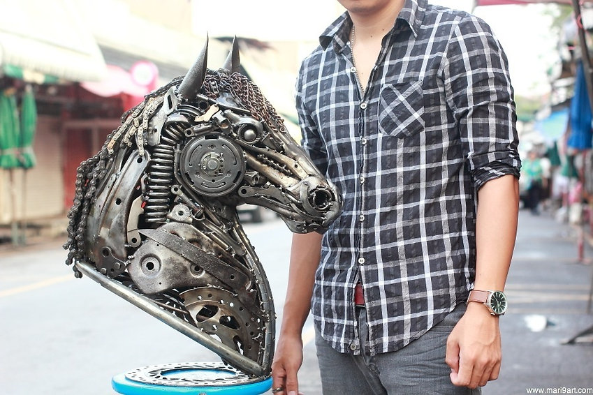 nice scrap metal sculpture horse made of all recycled metal collected
