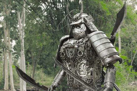 Samurai metal sculpture left