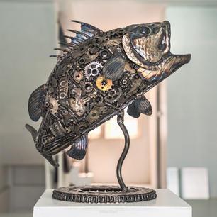 Seabass fish scrap metal art sculpture