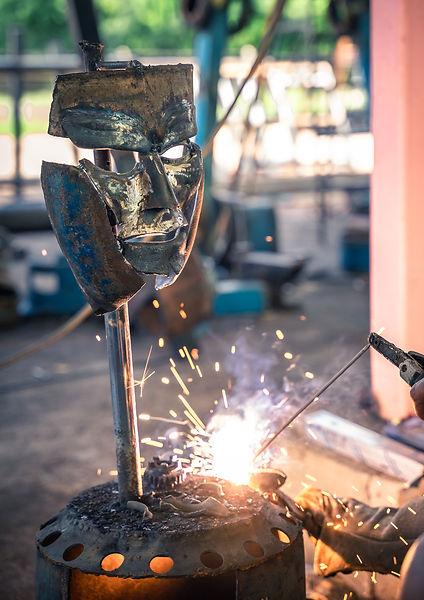 making viking warrior metal sculpture-2.