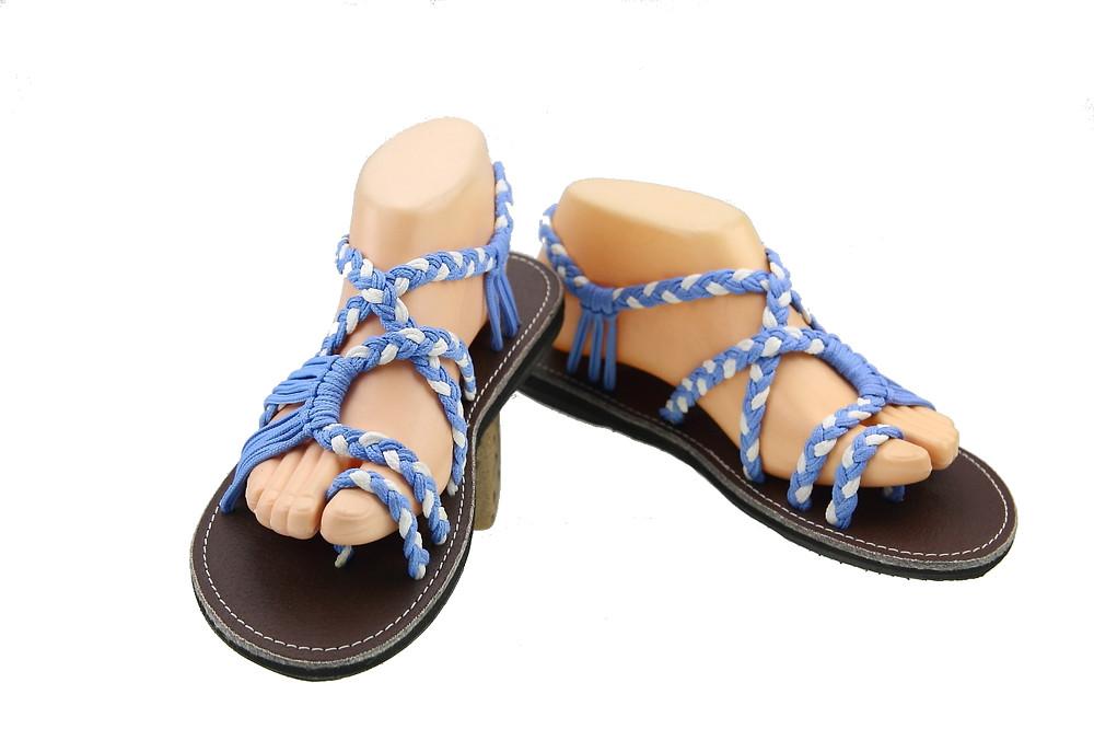 Braided sandals Blue white sandy style