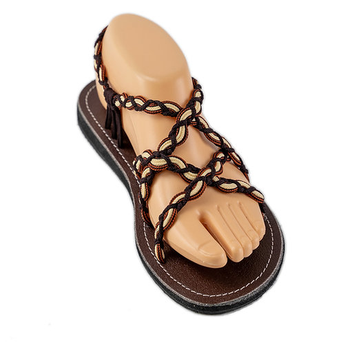 Braided sandals brown cream black ava style