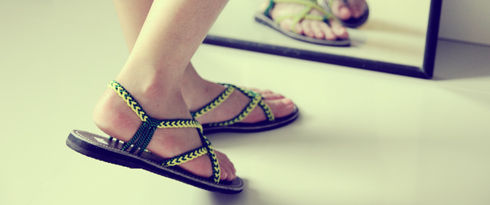Braided sandals by nittynice in green colors