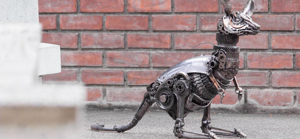 Kangaroo scrap metal sculpture