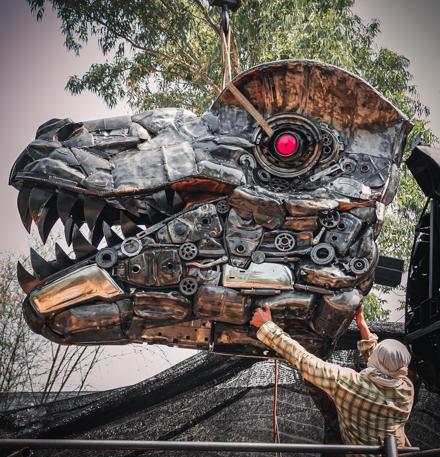 Life size Trex dinosaur metal sculpture