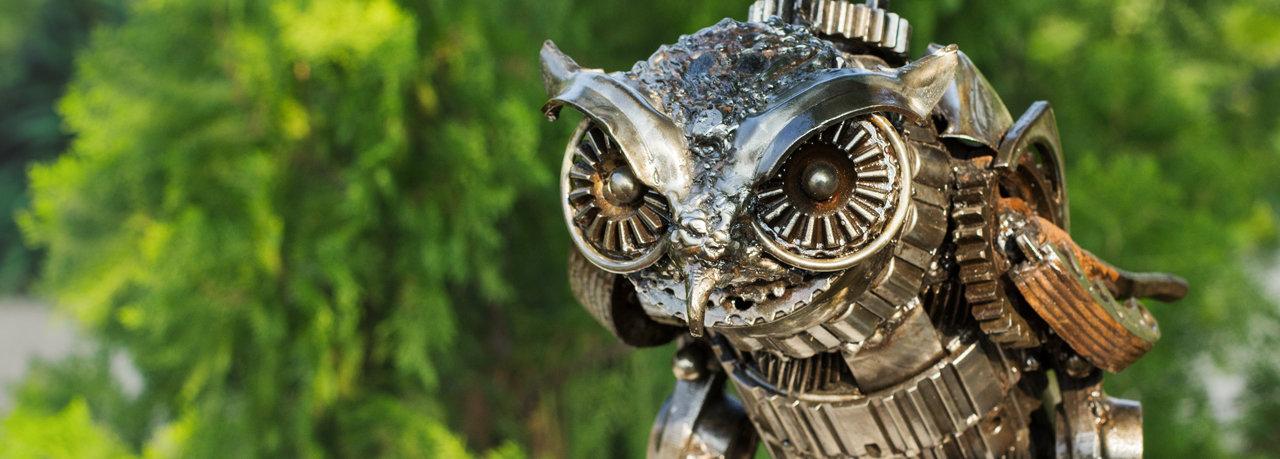 Owl metal sculpture