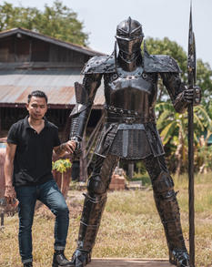 Knight metal sculpture