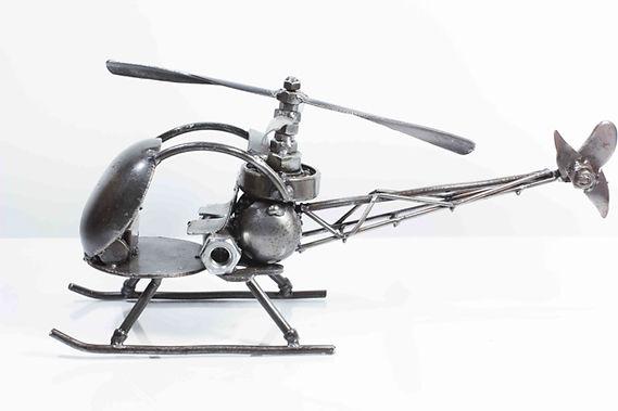 Helicopter bell47 model type 2 scrap metal sculpture 3