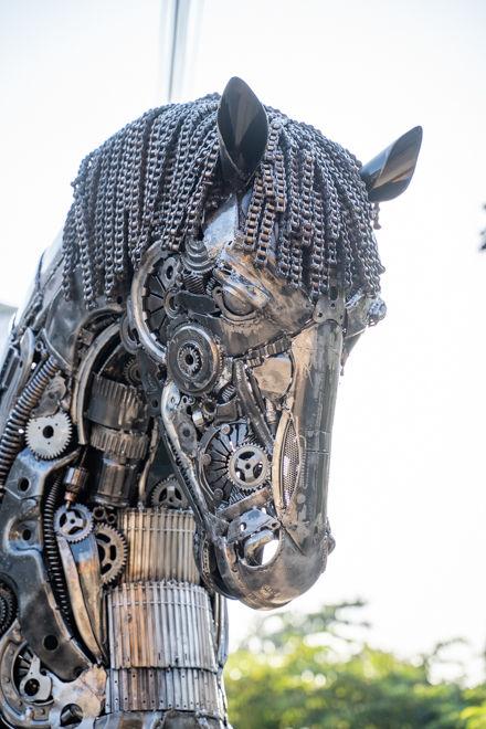 Metal Horses scrap metal art sculpture done head part