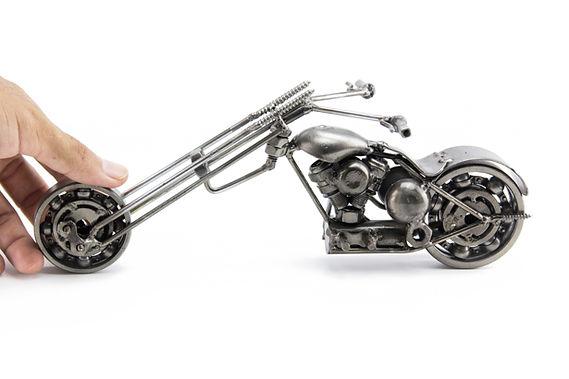 Ape chopper motorcycle scrap sculpture left 2