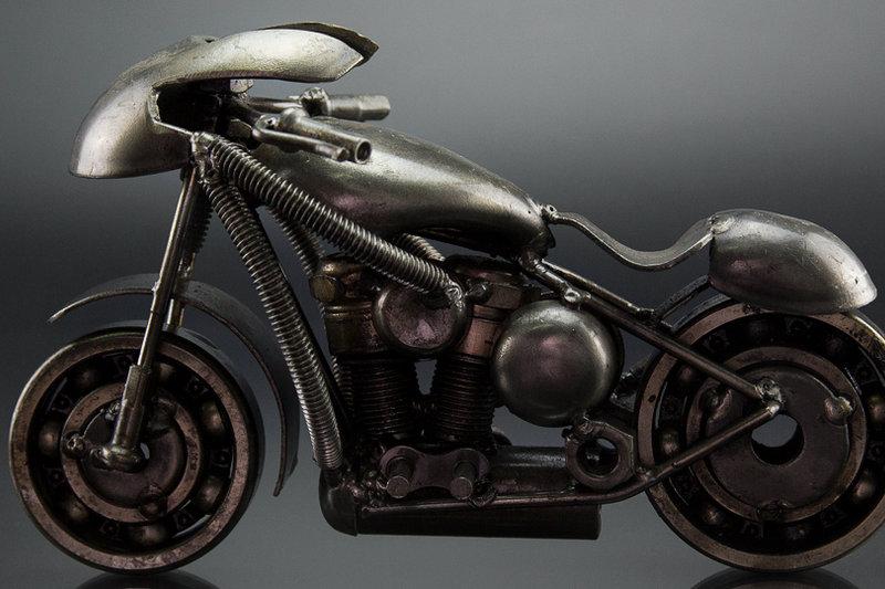 Sport motorcycle scrap sculpture made from scrap metal 1