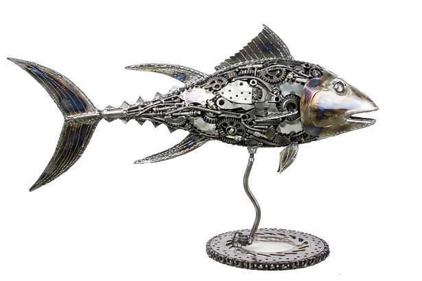 Fish metal sculpture made from scrap metal, right