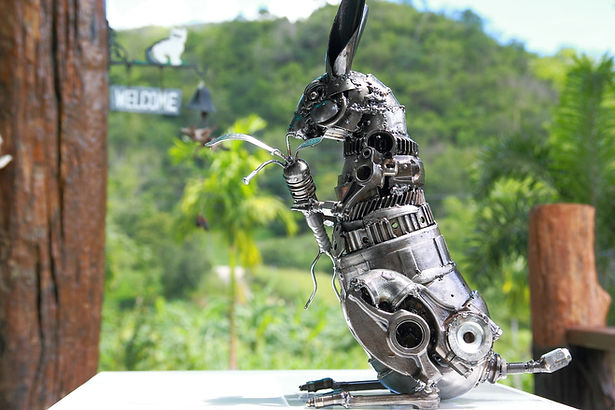 Steel bunny Metal art animal sculpture for sale
