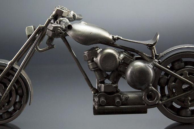 Bobber chopper bike model scrap sculpture made from scrap steel 1
