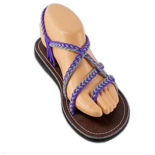 Braided sandals purple grey sassy style