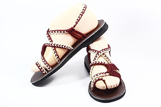 sandals for women sandy design dark red cream color by nittynice