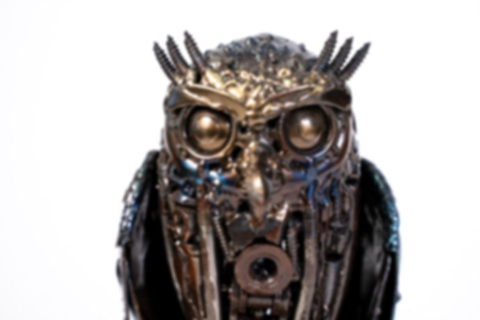Owl small metal art sculpture artwork-14