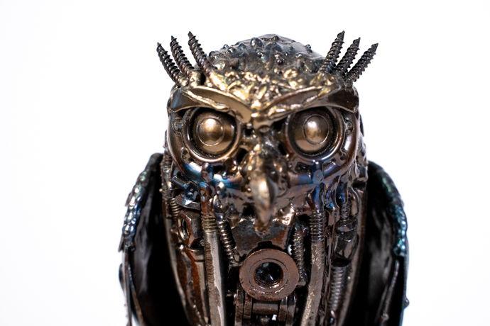 Owl small metal art sculpture artwork-14