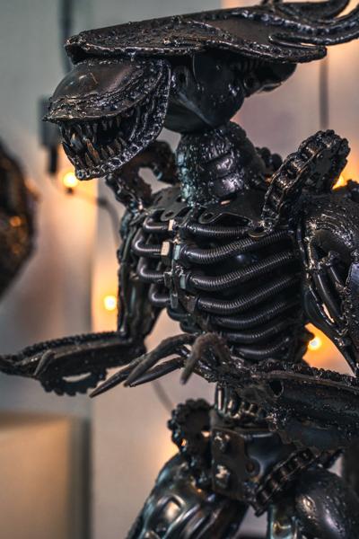 alien metal sculpture by mari9art