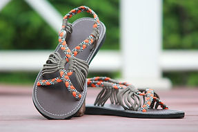 sandals for women bobby design orange grey color by nittynice