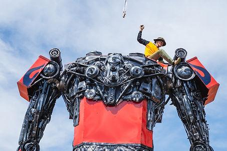 large scrap metal large sculpture transformer