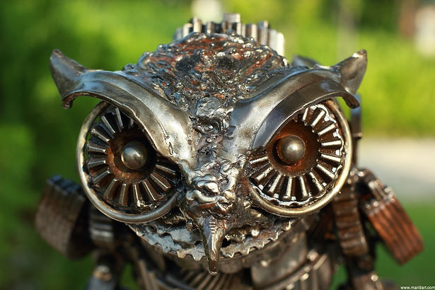 Metal owl sculpture stunning artwork recycled scrap metal owl, face