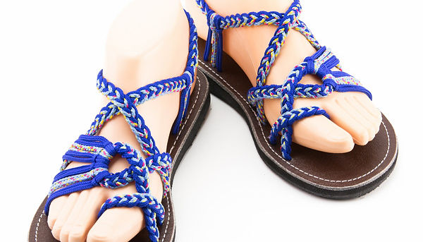 sandals for women rose design blue color by nittynice
