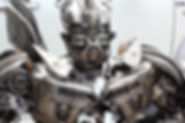 metal sculpture, scrap metal bumblebee welding zoom face