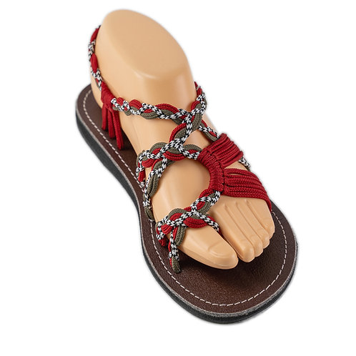 Braided sandals grey red white zindy style