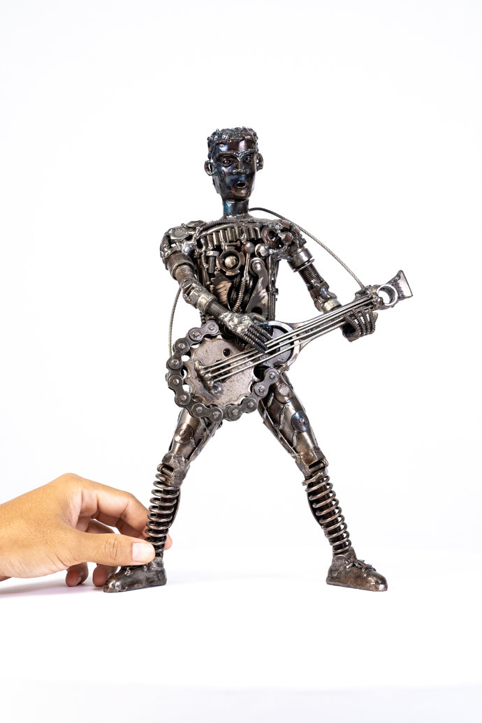 Guitar man metal art sculpture artwork_-