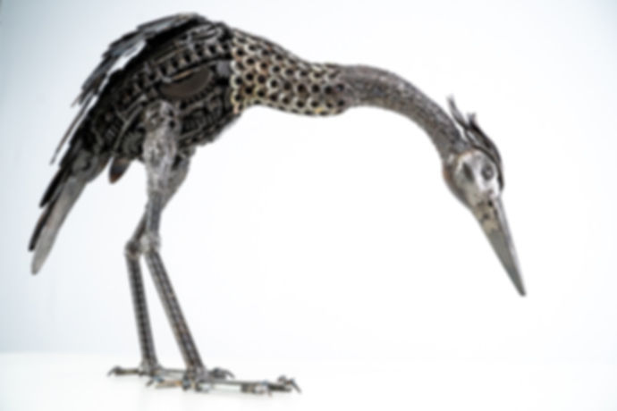 Crane bird metal art sculpture artwork_-
