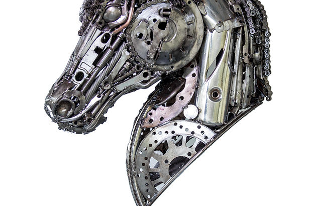 Horse head scrap metal artwork, left 1