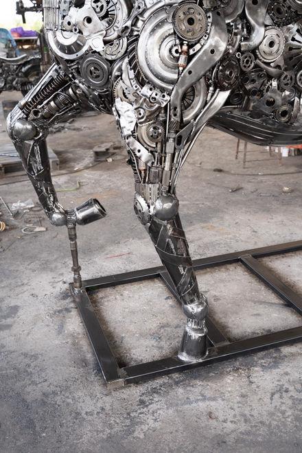 Horse life size scrap metal art sculpture front legs part