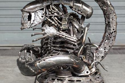 Alien chairs scrap metal sculpture