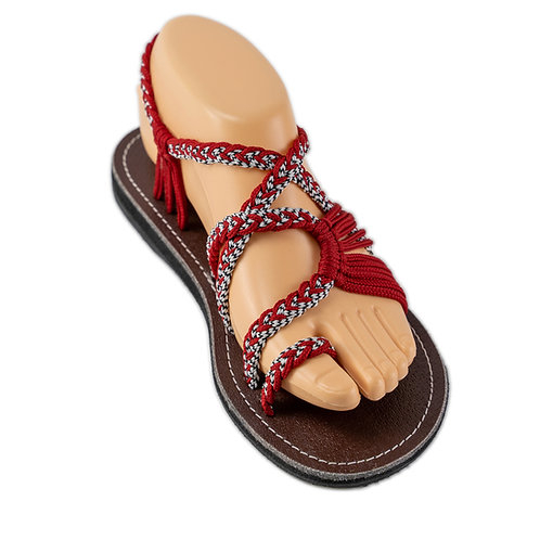 Braided sandals red white sandy style