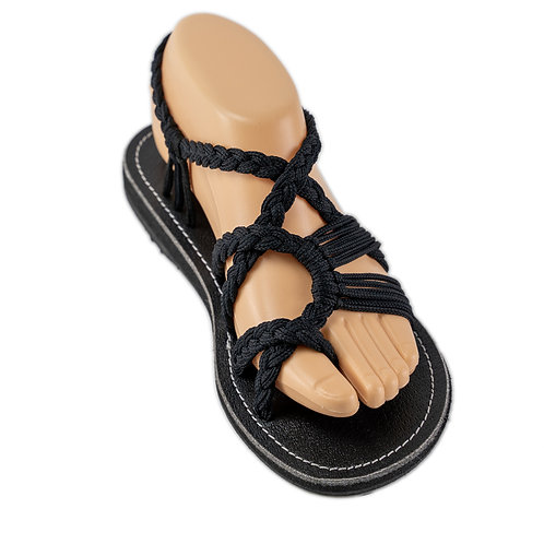 Braided sandals all black zindy style
