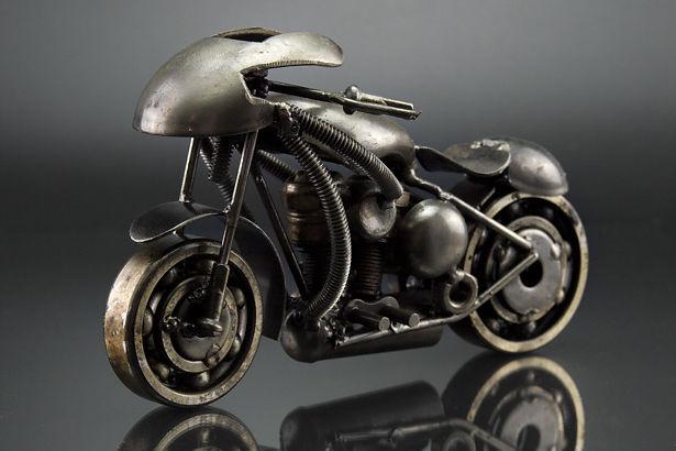 Sport motorcycle scrap sculpture made from scrap metal 4