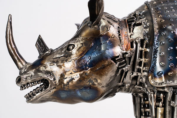 rhino scrap metal artwork front left face