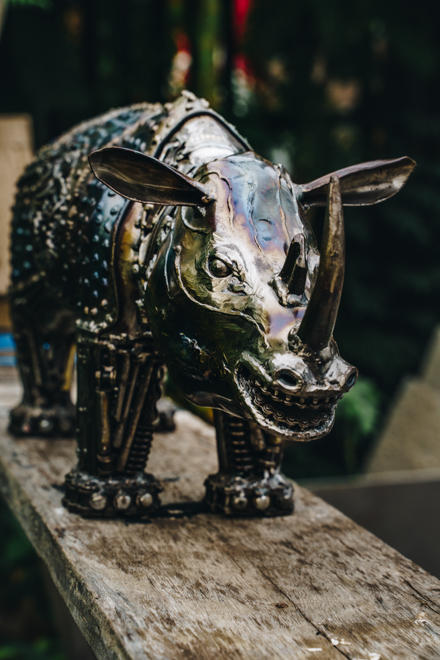 Rhino metal sculpture