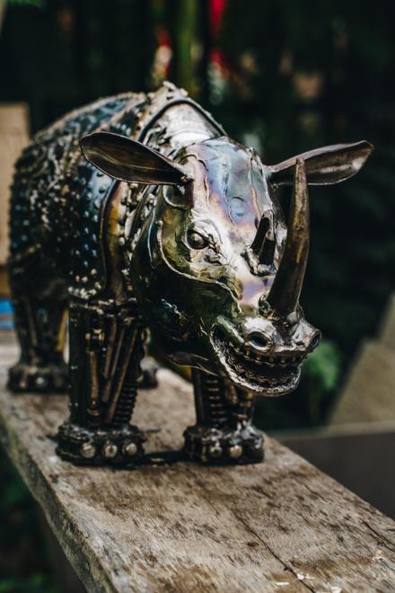 Rhino metal sculpture