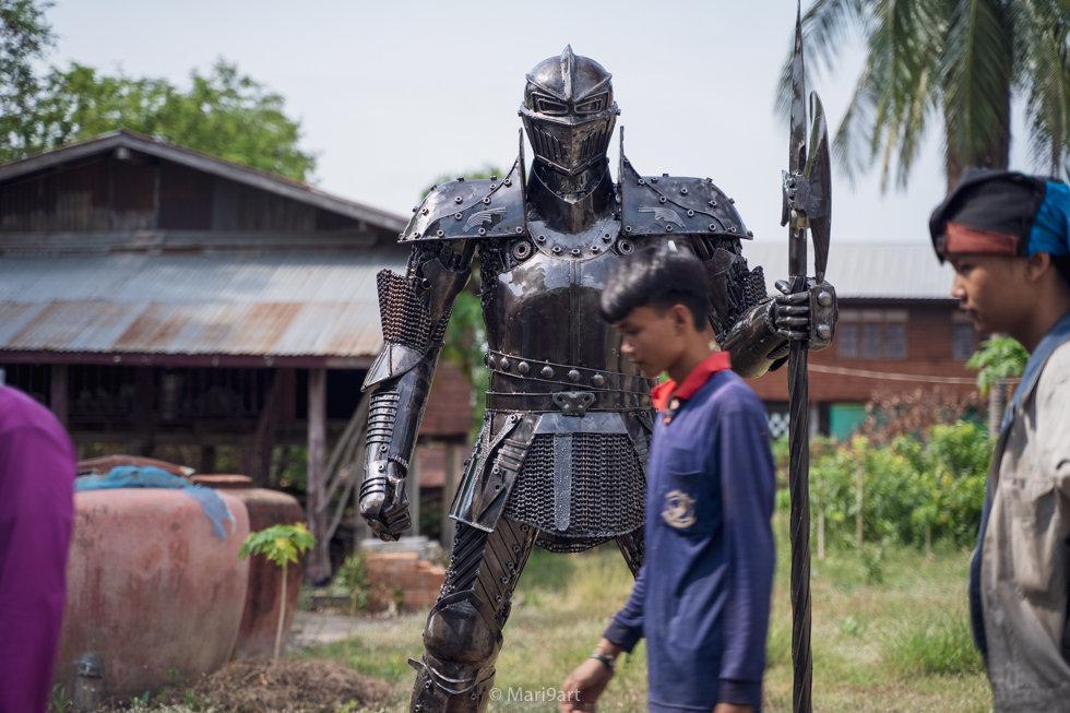 knight warrior scrap metal artwork body shot
