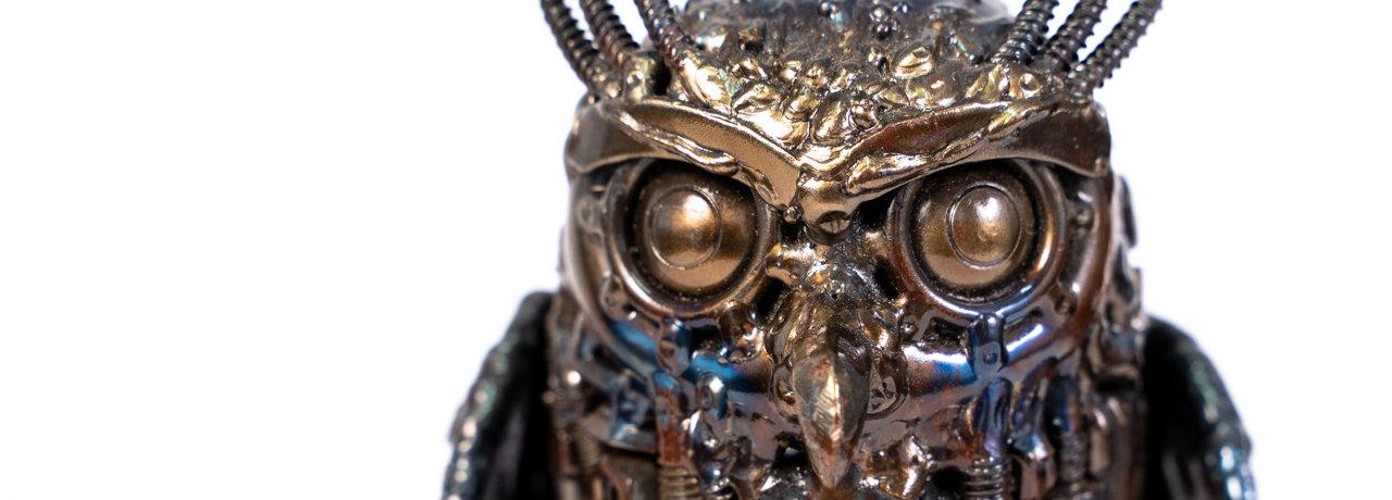 Owl small metal art sculpture artwork.jp