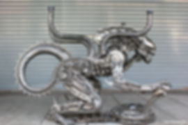 Unique metal art in Alien table from movie