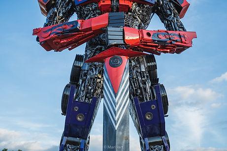 large sculpture transformer optimus body