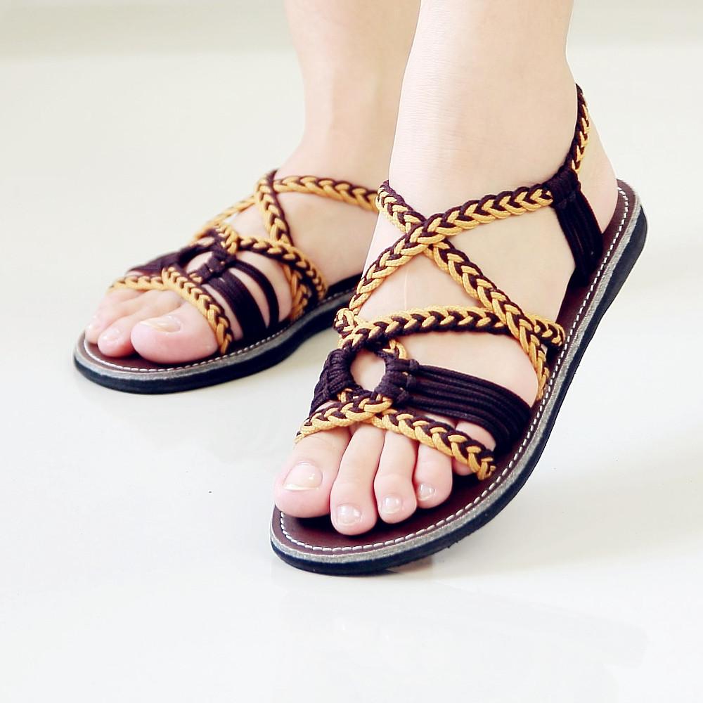 Braided sandals dark brown emmy style