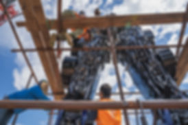 installation huge scrap metal sculpture optimus